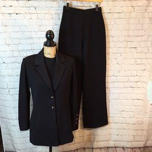 St John 3-piece black pantsuit inc shell & blazer